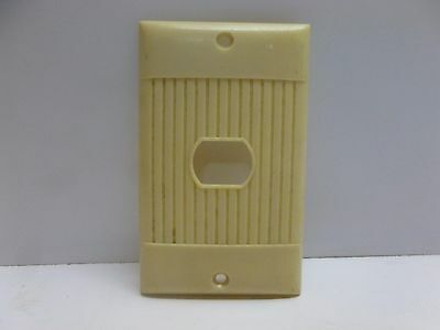 Vtg Art Deco Cream Beige Ribbed Single Hole Despard Switch Plate Cover