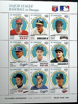 St. Vincent Baseball Stamps Sheet Of 9 Walt Weiss Willie Mays Giants Canseco