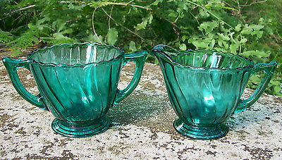 Jeannette Petal Swirl Glass Footed Cream & Sugar Ultramarine Blue/Green 1937-38
