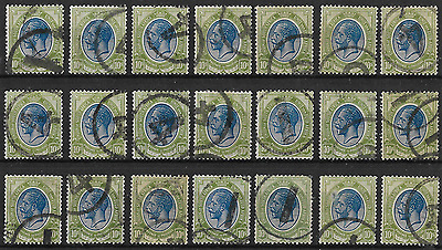 South Africa 1913 KGV SG16 10S Blue & Olive-Green Telegraphically Used Scarce!