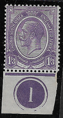 South Africa 1913 KGV SG13 1/3 Number 1 Plate on Lower Margin MH