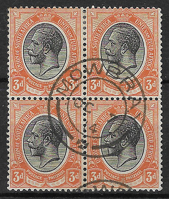 South Africa 1913 KGV SG8 3d Block of 4 Mowbray Cancellation 7 Oct 1914 FU