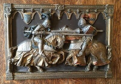 Vintage Jousting Knights Wall Plaque -Marcus Replica 33cm X 23cm