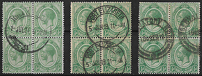 South Africa 1913 KGV SG3 ½d Green Group of 3 Blocks of 4 Used #5