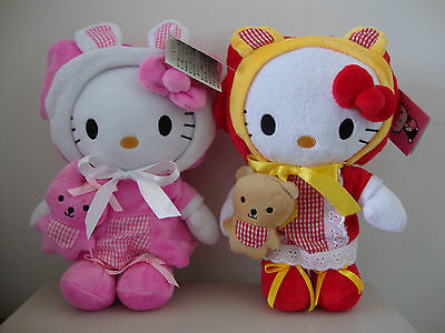 """Hello Kitty Lovely Pink Bunny And Red Bear Dress Holding Baby 9"""" Plush Set Of 2"""