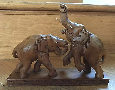 """Gorgeous Hand Carved Sculptured Pair of Large Solid Wood Elephants 8""""x10"""" Teak?"""