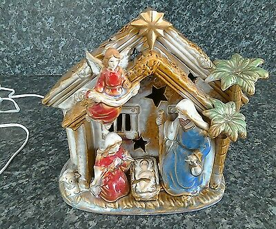 Ceramic Christmas nativity with  light