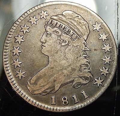 1811 Small 8 Capped Bust Half Dollar - Fine+ !!