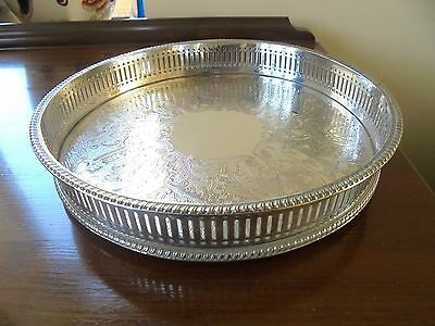 Silver Plated on Copper Circular Galleried Drinks Tray