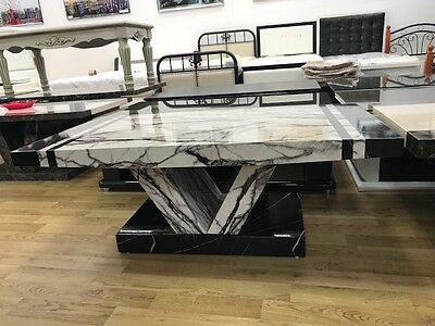 Marble Effect MDF Laminated Black & White Coffee Table, Living Room Furniture