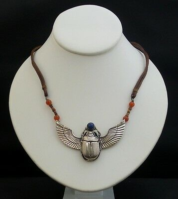 LARGE Vintage Sterling Silver Egyptian Lapis SCARAB Carnelian Leather Necklace