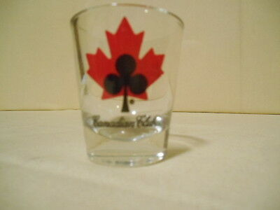 Pair of Hard to Find Vintage Canadian Club Shot Glasses Red Maple Leaf Logo