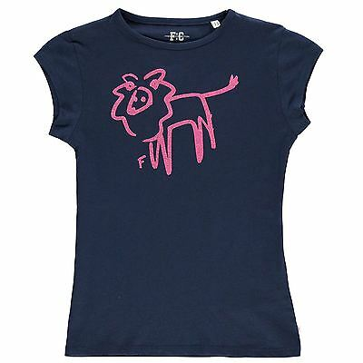 French Connection Niños Lion Glitter Camiseta Infantiles Chicas Cuello Redondo