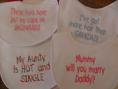 Personalised embroidered Baby bib 4 designs any colour or blank