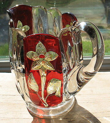 "eapg clear with ruby/yellow stain greensburg ""florida"" water pitcher"
