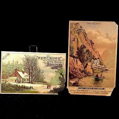 New Crown Florence And Royal St John Sewing Machine Company 2 Trade Cards 1880s