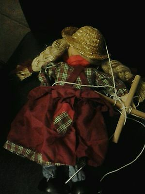 """Vintage 14""""  """"Tellon Collection""""  Wooden String Marionette Puppet  country Girl"""