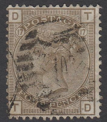 "GB QV 4d Grey-Brown SG154 Plate 17 Used ""TD"" 1880 Stamp  Large Garter - Faults"