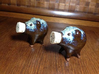 "Mid century pig ceramic salt and peppers "" Pikes Place Market"" Brownware,retro"