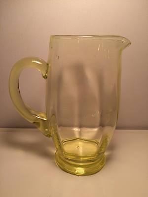 Vaseline glass topaz Fostoria ?  water pitcher