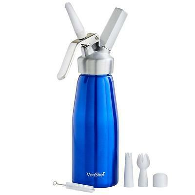 AIRY Whipped Cream Dispenser Blue For DESSERTS Cake Pastries Milkshake Baking