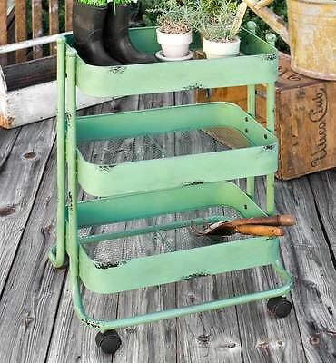 Gardener's Cart on Wheels  Metal with 3  Bins Home Organization ,20'' x 28.5''H.