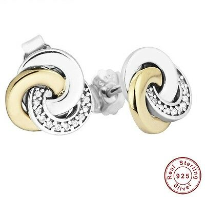 Solid 925 Silver Sterling two tone interlinked circles EARRINGS studs+ gift Box