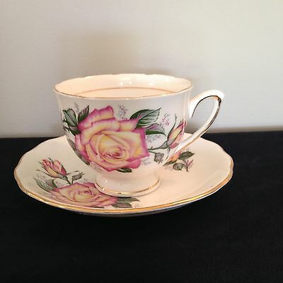 Colclough Red/Yellow Rose tea cup and saucer 1940's