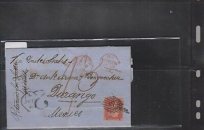 E) 1859  Great Britain, Red Pence, Classic Circulated Cover To Mexico, Rare Dest