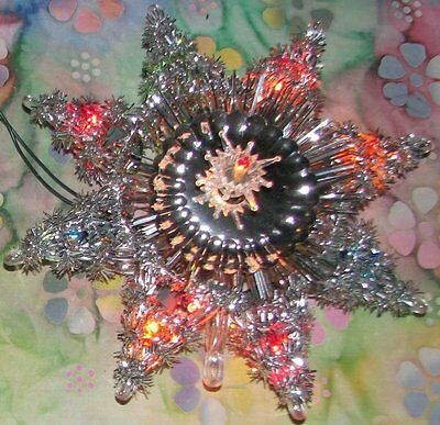 "Vintage 10 Light Star TREE TOPPER Silver Tinsel With Reflector 8"" In Box WORKS"