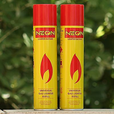 2x NEON Butane Gas for Torch Lighter 300ML - Cigar Jet Refill Fluid Tank Pipe