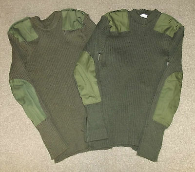 Pair Of Genuine British Army Issued Green Woolley Pulley Jumpers