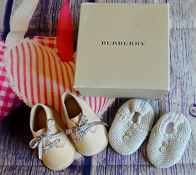 Burberry Baby Boy Or Girl Designer Shoe & Slipper Bundle Newborn VGC