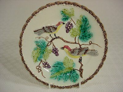 Vintage French Pottery Majolica Plate - Birds on a Grape Vine