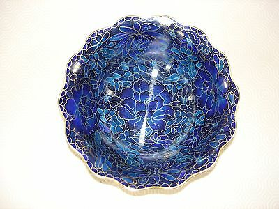 Blue Cloisonne Bowl on Wooden Stand