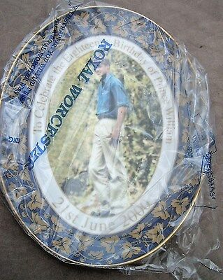 Boxed Royal Worcester L/E 3000 Prince William 18th Birthday Oval Plate. Mint.