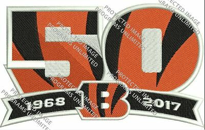 """Cincinnati Bengals 50Th Anniversary Season Patch Embroidered Jersey Style 5.5"""""""