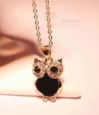 Elegant Women Rhinestone OWL Pendant Shell Long Chain Necklace Gift black