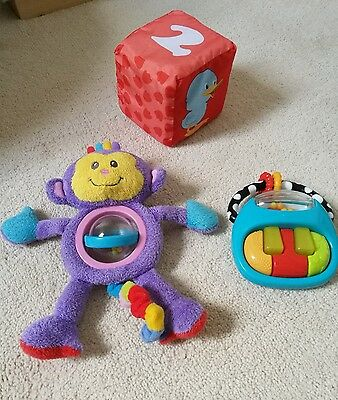 Baby Sensory Toy Bundle Bright Starts Piano Rattle, Boots Milly Monkey Good Cond