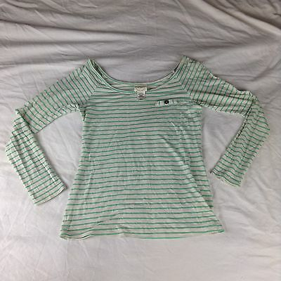 Womens Belle Du Jour Long Sleeve Top Gray & White Striped Blouse Size Small S