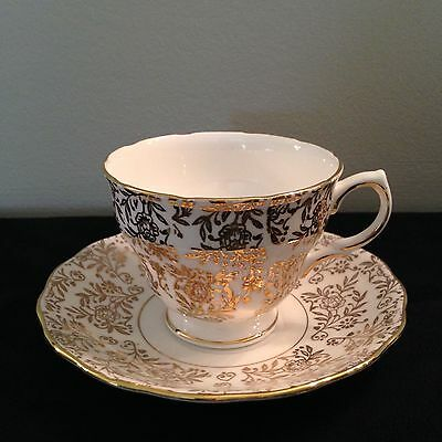Royal Malvern Gold filigree/chinz vintage tea cup and saucer