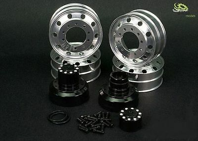 1:16 Alu Rim Set Drive Axle Hub Black Pair