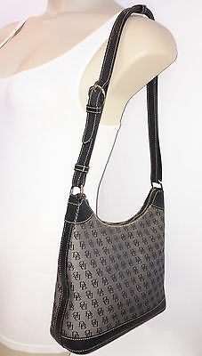 DOONEY & BOURKE Gray Signature Fabric / Black Leather Trim Shoulder Bag