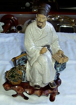 Chinese Porcelain Crackle Glaze Figurine With Carved Stand 22 Cm High