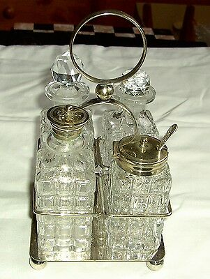 Antique English Silver Plated and Cut glass Condiment Cruet Set 4 piece on Stand