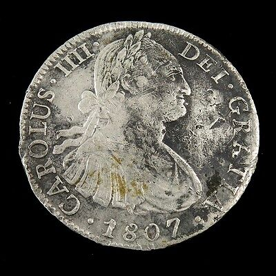 1807 TH Mexico Silver 8 Reales Coin