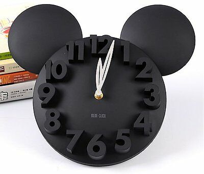 UK-Modern Style Home Decor Decoration Mickey Mouse Big Digit 3D Wall Clock BLACK