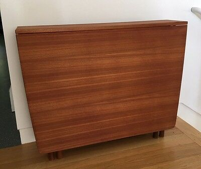 Mid Century Danish Modern Teak Gateleg Drop Leaf Dining Table