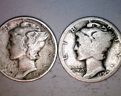 1919 and 1945--- U.S BARBER SILVER DIMES