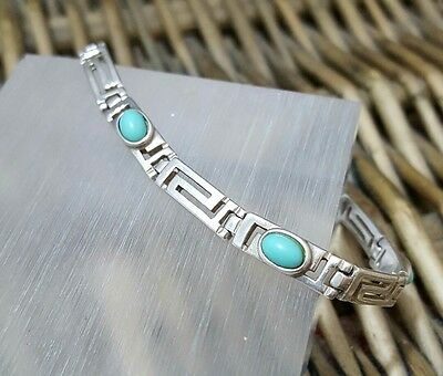 Vintage 925 Sterling Silver Bracelet, Greek Key, Turquoise Gemstones, 11Gr